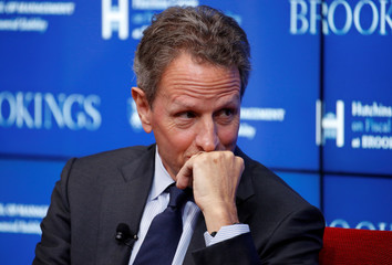 "Former Treasury Secretary Timothy Geithner, discusses ""10 Years After the Global Financial Crisis"" in Washington"