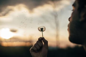 Man blowing dandelion in nature