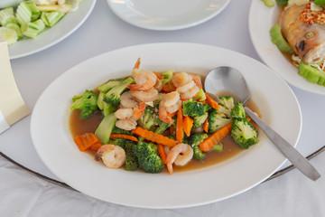 Broccoli and shrimp Thai Food