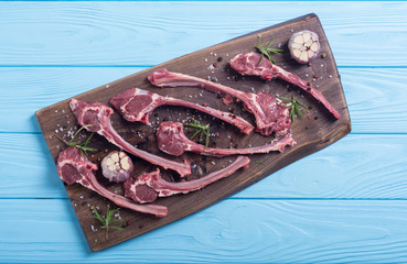 Raw ribs or rack of lamb and ingridient