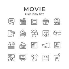 Set line icons of movie