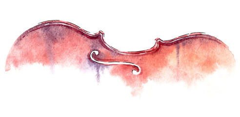 wet wash watercolor violin on white background with clipping path