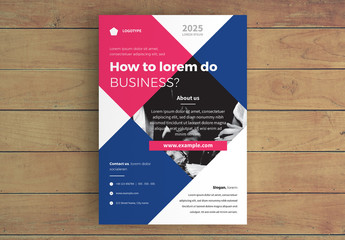 Business Flyer Layout with Blue and Pink Contrast