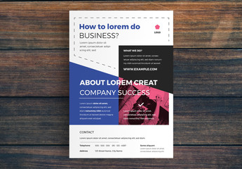 Business Flyer Layout with Blue and Pink Accents