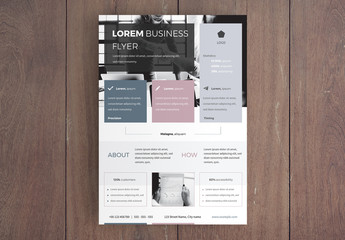 Business Flyer Layout with Pastel Colors Accent
