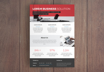 Business Flyer Layout with Red Overlay