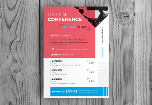 Business Conference Flyer Layout with Red Accents