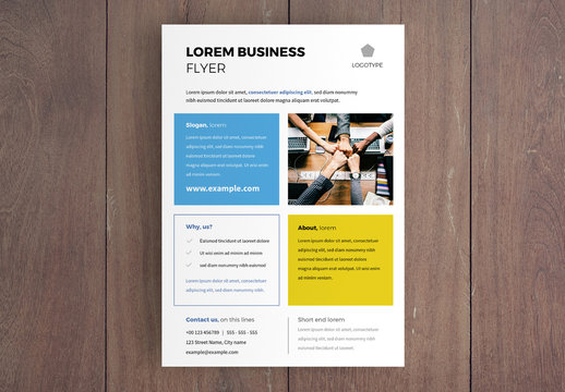 Business Flyer Layout with Colored Squares Design