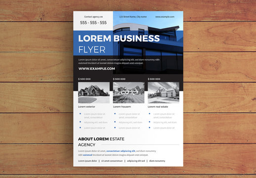 Real Estate Business Flyer Layout with Blue Accents