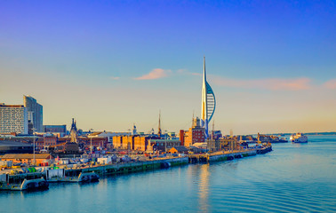 Portsmouth, England, June 2018, Portsmouth port in the late evening Fotomurales