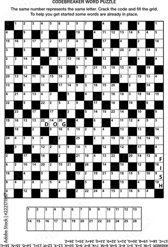 picture regarding Printable Code Cracker Puzzles known as Puzzle site with codebreaker (codeword, code cracker) term
