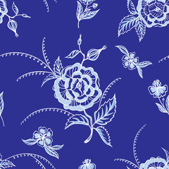 Seamless pattern of white flowers on a blue background, vector illustration. Decorative stylized ornament of abstract roses, print for fabric and other designs.