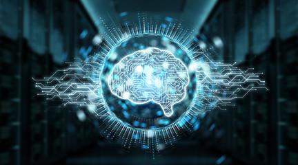 Digital artificial intelligence icon hologram 3D rendering