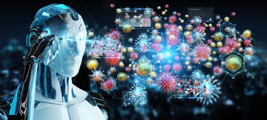 Cyborg creating and analyzing nanovirus 3D rendering