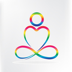 Logo yoga man love heart shape