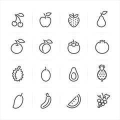 Fruits icons with White Background