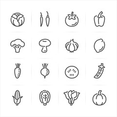 Vegetables icons with White Background