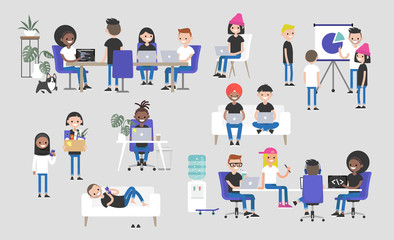 Big business set. Co-working space. Office life. Diversity collective. Startup. Millennials at work. Generation z. Technologies. Project management. Flat editable vector illustration, clip art