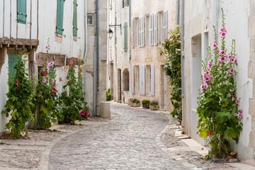 authentic cobblestone street, Saint Martin de Re, France.