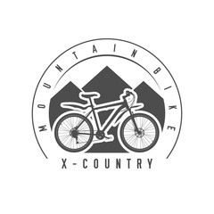 Mountain Bike, Cross-Country Emblem or Badge. Monochrome Vector Illustration. Cross-Country Bicycle Detailed Silhouette.