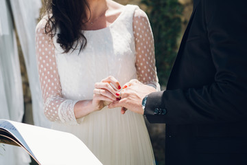 Young bride and groom exchanging wedding rings