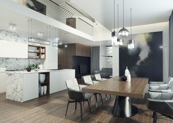 Nowoczesny i elegancki apartament o otwartym planie z kuchnia, jadalnią i salonem.
