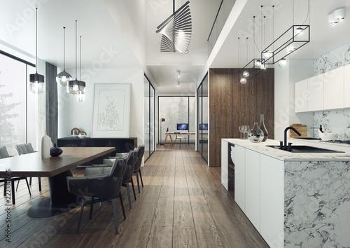 Nowoczesny I Elegancki Apartament O Otwartym Planie Z Kuchnia