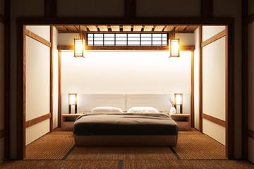 Bed room original - Japanese interior design. 3d rendering