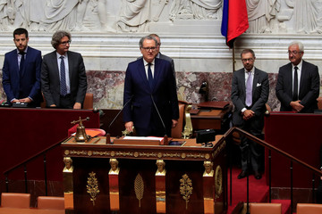 Richard Ferrand newly elected speaker of the French National Assembly delivers a speech at the National Assembly in Paris
