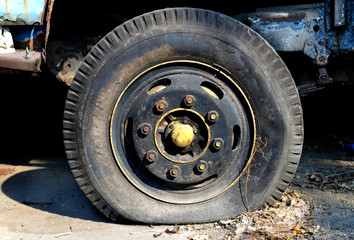 very old Flat tire car