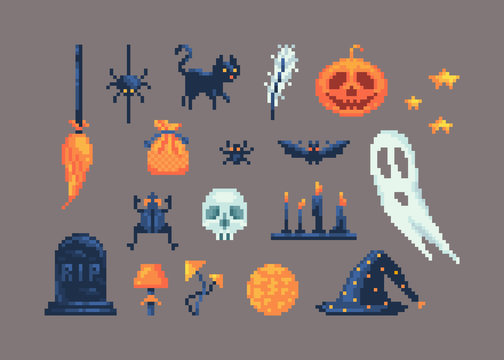 Pixel art set of different items for design on Halloween.