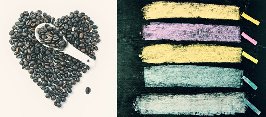 Coffee Beans and colorful chalks on blackboard background. Copy space for your text or image.
