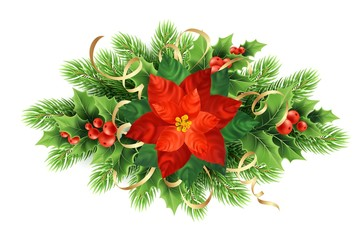 Red poinsettia flower realistic illustration