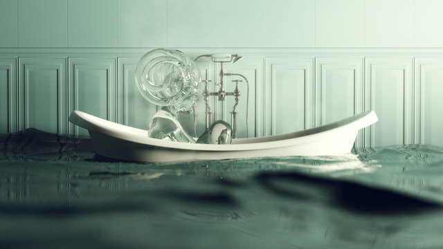 Steamy Blue Stone Bathroom Flooded With Iron Bath and Water Nymph Spirit 3d illustration 3d render