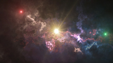 space background, glare, fog, and colored stars