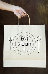Phrase Eat Clean on a paper bag