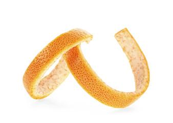 Citrus fruit skin on a white background
