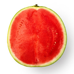Half of seedless watermelon isolated on white from above.