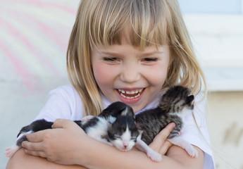 Girl, kittens, embrace, fun, close up