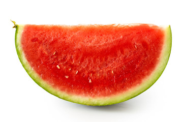 Wedge of seedless watermelon  isolated on white.
