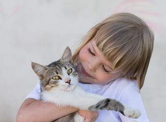 Girl, cat, embrace, fun, close up