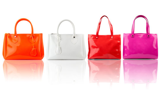 Handbags collection isolated on white background.Front view.