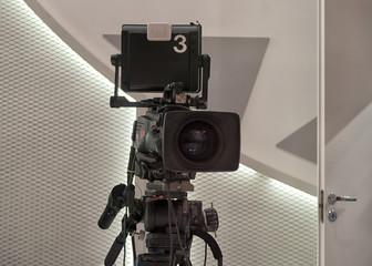 Professional tv camera in live show pavilion.