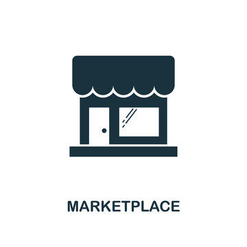 Marketplace icon. Monochrome style design from e-commerce icon collection. UI. Pixel perfect simple pictogram marketplace icon. Web design, apps, software, print usage.