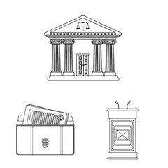 Isolated object of law and lawyer sign. Collection of law and justice vector icon for stock.