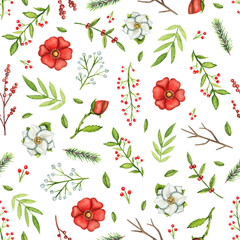 Seamless pattern with Christmas branches, flowers, berries and twigs isolated on white background. Watercolor hand drawn illustration
