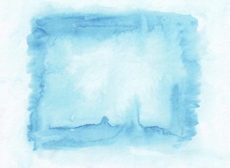 Light blue horizontal  watercolor gradient  hand drawn  backgrou