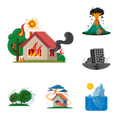 Isolated object of natural and disaster symbol. Set of natural and risk stock vector illustration.