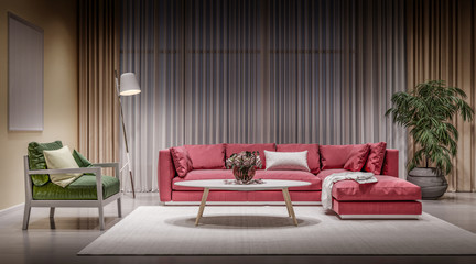 Modern design interior living room, red sofa with green chair, night scene