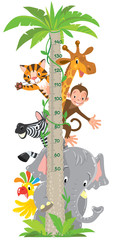 Giraffe, monkey, tiger. Meter wall or height chart